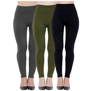 Womens 3 Pack High Waist Fleece Lined Leggings OS